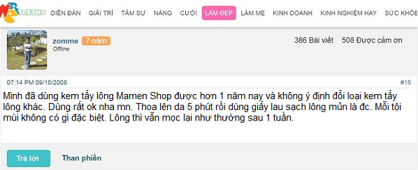review kem tẩy lông Mamen Shop
